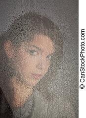 janela, só, pensativo, menina, jovem