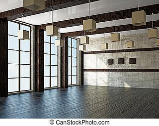 janela, sala, vazio