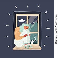 janela, thinking., ilustração, triste, sentando menina, lar, vetorial, tonight., deeply