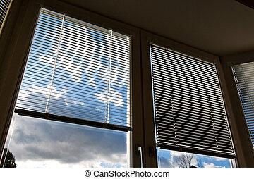 janela, venezianas, para, proteção sol, aqueça proteção