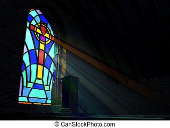 janela vidro, manchado, igreja