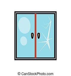 janela vidro, quebrada, ícone