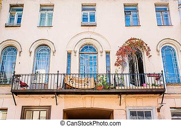 janelas, arco, bonito, sacada