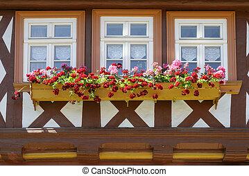 janelas, com, flor, caixas