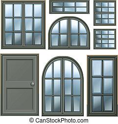 janelas, diferente, desenho