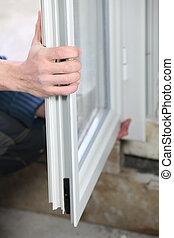 janelas, dobro, homem, instalar, glazed