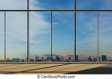 janelas, em, modernos, edifício escritório