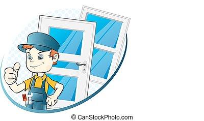janelas, instalação, portas, especialista
