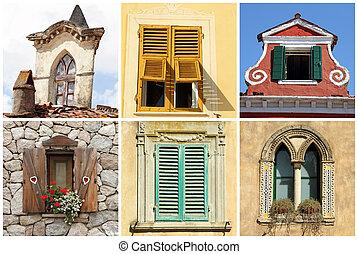 janelas, itália, antigas, diversidade, bonito