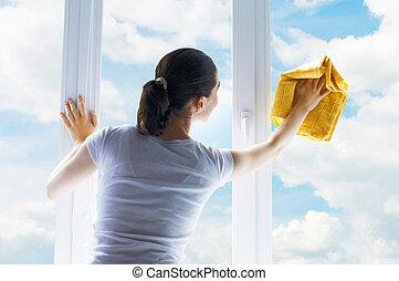 janelas, lavando