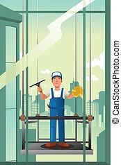 janelas, limpador, edifícios, levantar, alto