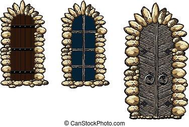 janelas, medieval, portas