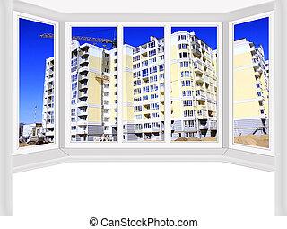 janelas, negligenciar, a, construção, de, modernos, casa