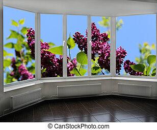 janelas, negligenciar, arbusto, de, lilás