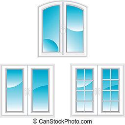 janelas, plástico