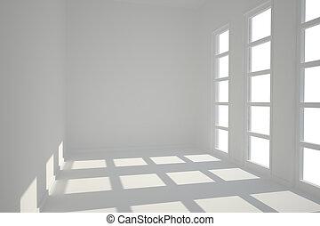janelas, quarto branco