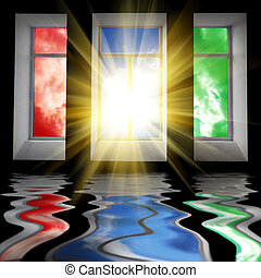 janelas, sol, três