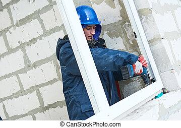 janelas, trabalhadores, instalar, construção, abertura, installation., quadro