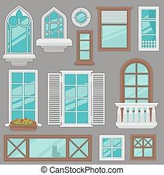 janelas, types., vetorial, vário, cobrança