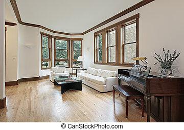 janelas, vivendo, madeira, sala, aparado