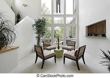 janelas, vivendo, teto, sala, chão