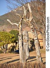 jang, seung, de madera, estatuas