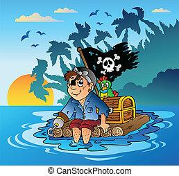 jangada madeira, pirata, velejando
