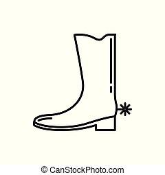 Jangle Cowboy Shoe Thin Line Icon Illustration Design