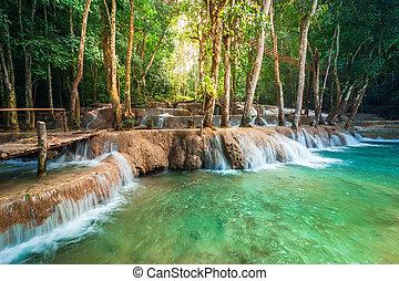 jangle, landschaftsbild, mit, türkis, wasser, von, kuang, si, waterfall., lao