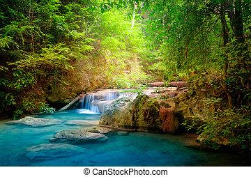 jangle, waterfall., erawan, kanchanaburi, タイ, 風景