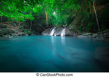 jangle, waterfall., erawan, kanchanaburi, tailandia,...