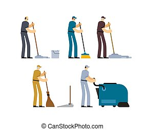 Janitor and Cleaner set. broom and Industrial Vacuum Cleaner. sweeping brush and Bucket. Service worker people. swabber