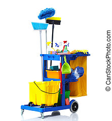 Janitor cart. - Blue janitor cart. Isolated over white...