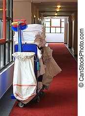 Janitor cart - Cleaning utility janitorial cart in hotel...