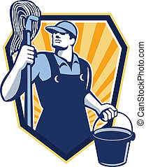 Janitor Cleaner Hold Mop Bucket Shield Retro - Illustration...