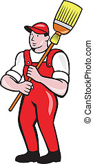 Janitor Cleaner Holding Broom Standing Cartoon -...