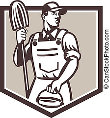 Janitor Cleaner Holding Mop Bucket Shield Retro -...