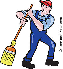 Janitor Cleaner Sweeping Broom Cartoon - Illustration of a...
