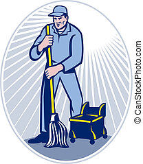 Janitor Cleaner With Mop Cleaning Retro - illustration of a...