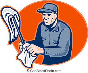 Janitor Cleaner With Mop Wiping Retro - illustration of a...
