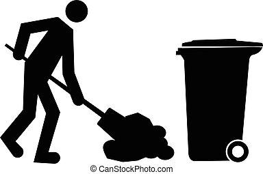 Janitor cleaning and dumping waste into trash bin or garbage bin vector icon concept.