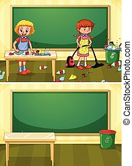 Janitor Cleaning Dirty Classroom illustration
