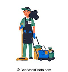 janitor - female janitor in uniform holding mop and cleaning trolley. Cleaning service and hospital disinfection. Flat style vector illustration on white background.
