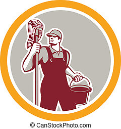 Janitor Holding Mop and Bucket Circle Retro - Illustration...