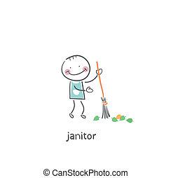 Janitor. Illustration.
