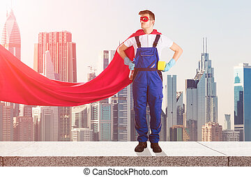 Janitor In Superhero Costume Standing On Top Of Building