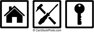 Janitor job icons - Icons for janitor with house, tools and...