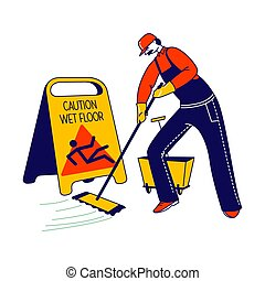 Janitor Male Character Mopping and Cleaning Floor with Yellow Caution Sign Warning People to be Careful. Wet Floor Precaution Message in Office, Airport or Public Place. Linear Vector Illustration