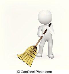 Janitor man 3d business logo