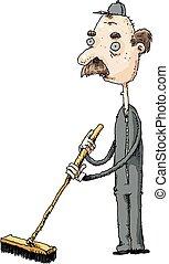 Janitor Man - A cartoon of a sad and haggard male janitor...